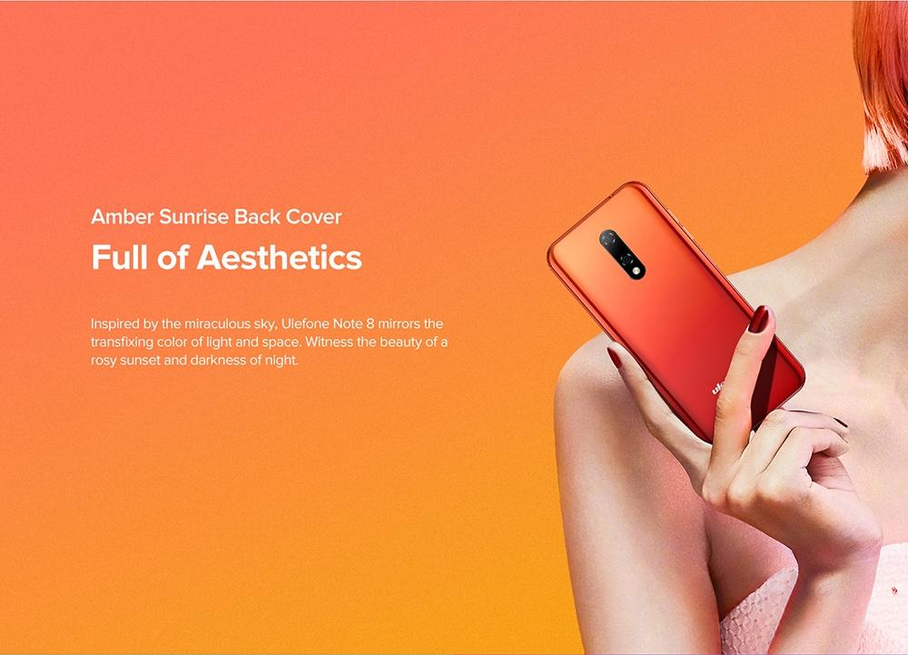 Ulefone Note 8 3G Smartphone Amber Sunrise Back Cover
