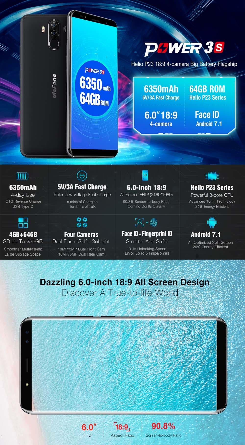 Ulefone Power 3S 4G okostelefon