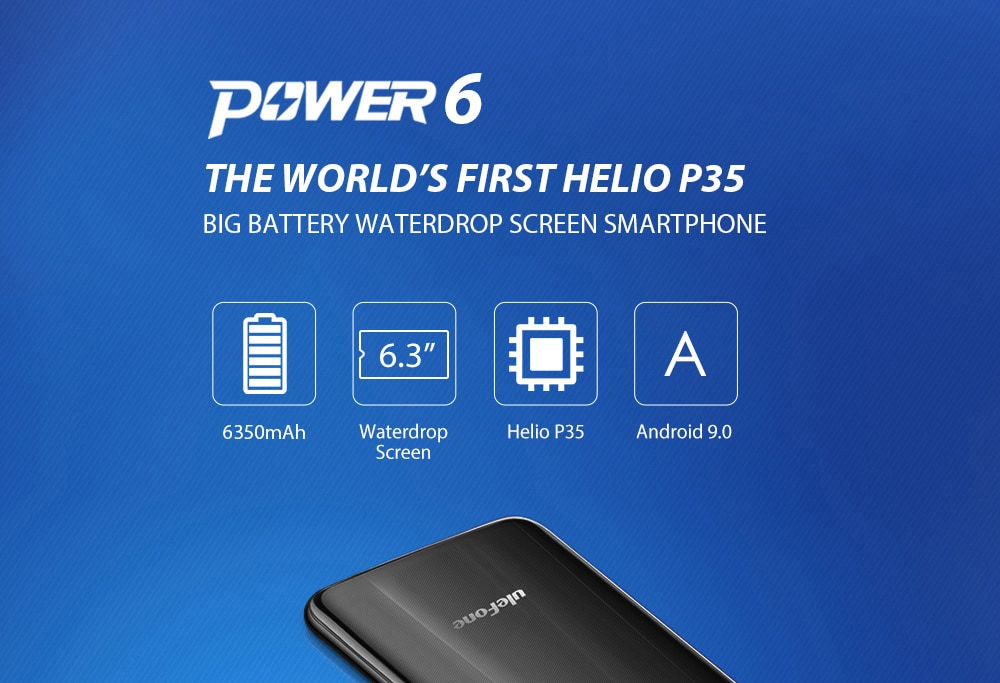 Ulefone Power 6 4G Phablet 6.3 inch Android 9.0 Helio P35 Octa Core 2.3GHz 4GB RAM 64GB ROM 16.0MP + 2.0MP Rear Camera 6350mAh Battery- Black EU Version