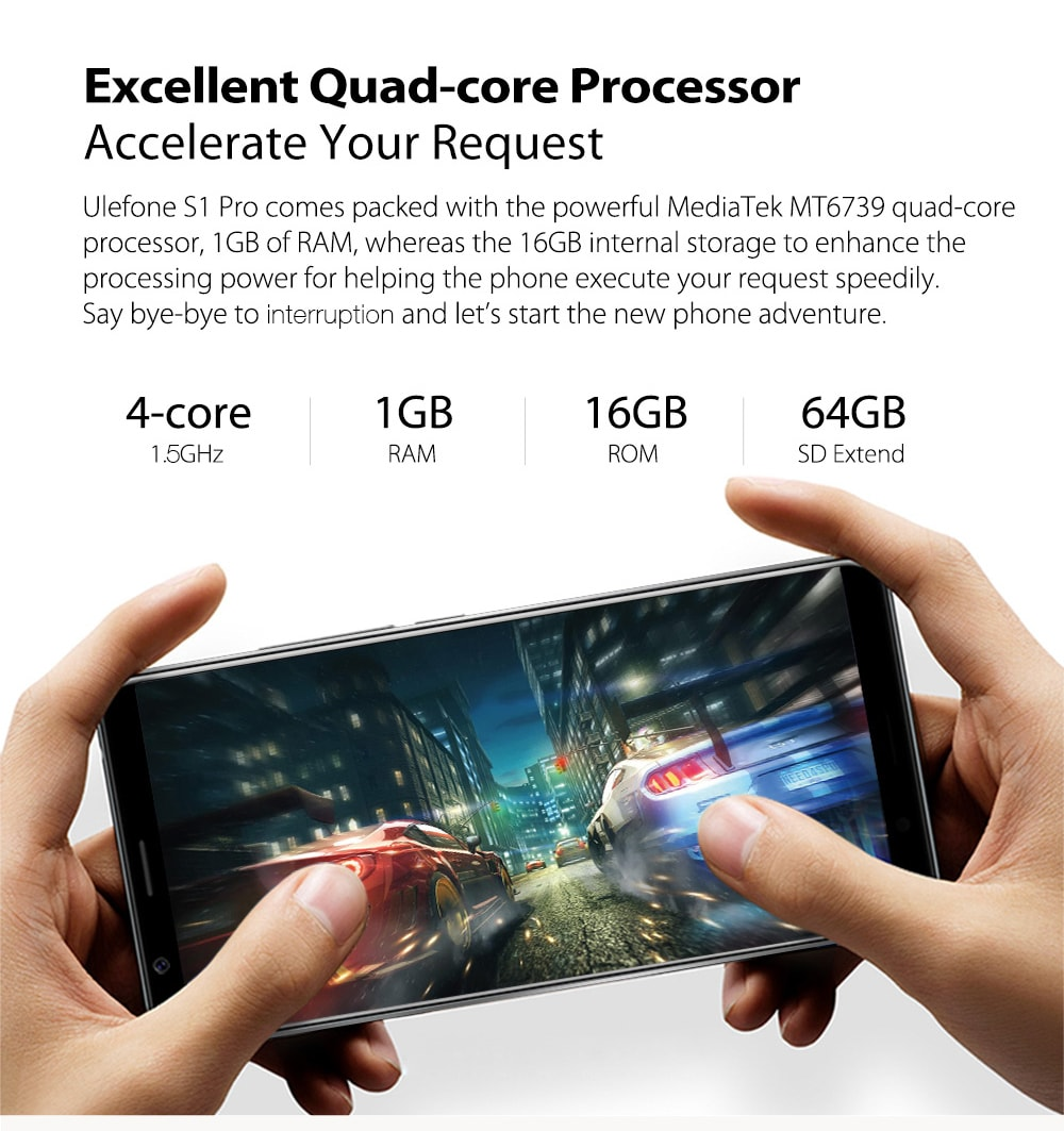 Ulefone S1 Pro 4G Phablet 5.5 inch Android 8.1 MT6739WA 1.3GHz 1GB RAM 16GB ROM 13.0MP + 5.0MP Dual Camera Face Unlock 3000mAh Built-in- Gold