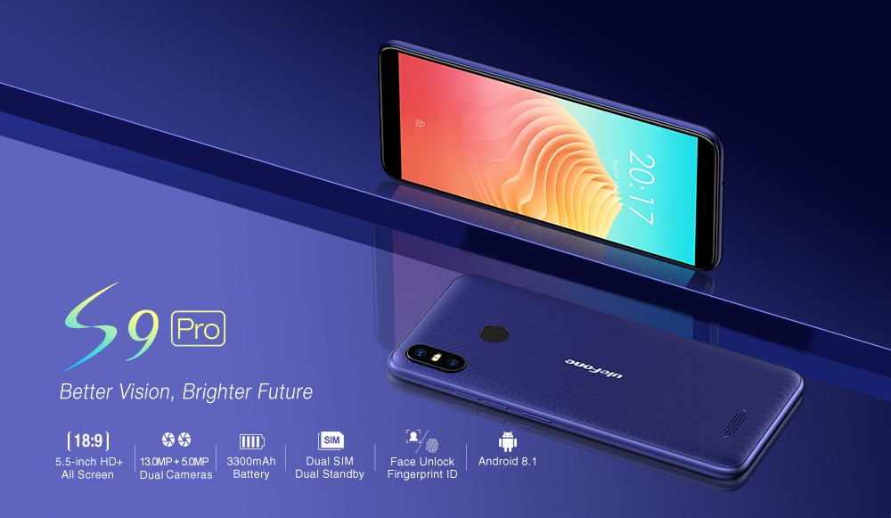 Ulefone S9 Pro 4G Phablet 5.5 inch Android 8.1 MTK6739 Quad Core 1.3GHz 2GB RAM 16GB ROM 13.0MP + 5.0MP Rear Camera Fingerprint Sensor 3300mAh Built-in- Lapis Blue