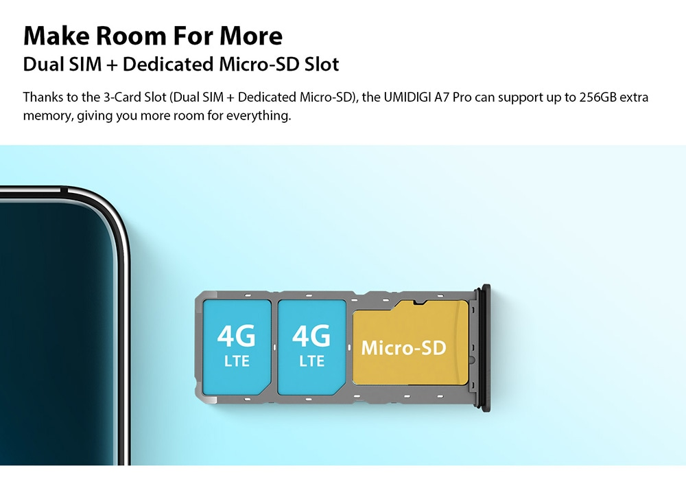 UMIDIGI A7 Pro 4G Smartphone Global Version Dual SIM+ Dedicated Micro-SD Slot