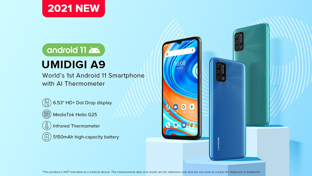 UMIDIGI A9 Smartphone Global Bands 6.53 Inch HD+ Infrared Thermometer Android 11 5150mAh 3GB 64GB Helio G25 13MP Triple Rear Camera Octa Core 4G Smartphone - Blue UMIDIGI A9