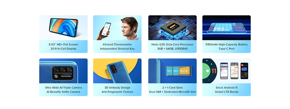 UMIDIGI A9 Smartphone Global Bands 6.53 Inch HD+ Infrared Thermometer Android 11 5150mAh 3GB 64GB Helio G25 13MP Triple Rear Camera Octa Core 4G Smartphone - Blue Features
