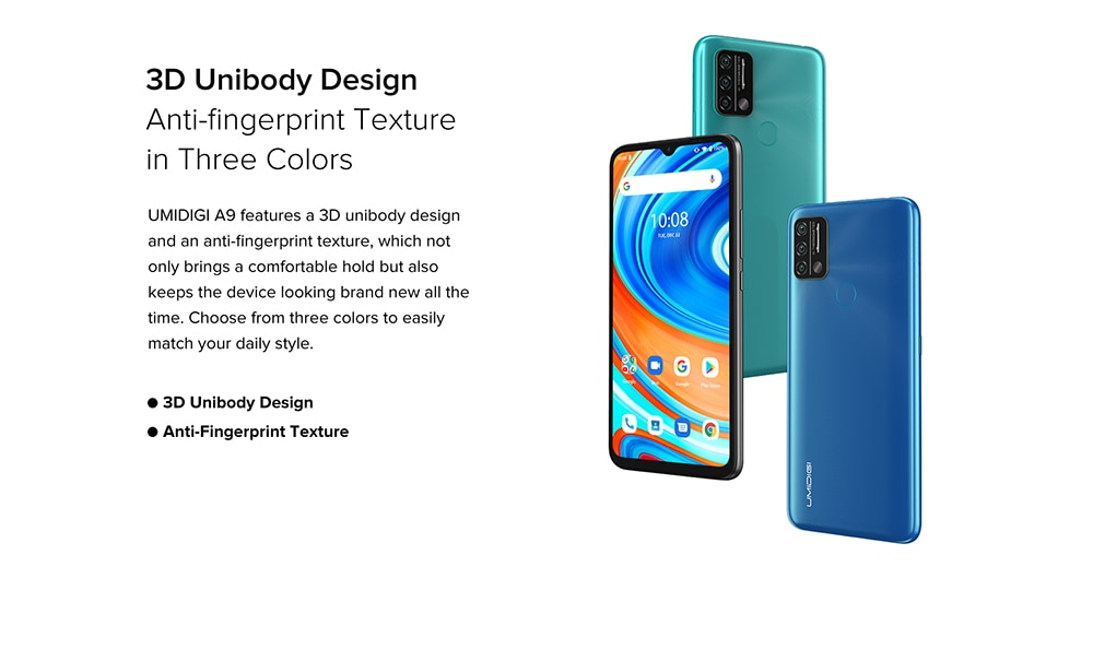 UMIDIGI A9 Smartphone Global Bands 6.53 Inch HD+ Infrared Thermometer Android 11 5150mAh 3GB 64GB Helio G25 13MP Triple Rear Camera Octa Core 4G Smartphone - Blue 3D Unibody Design