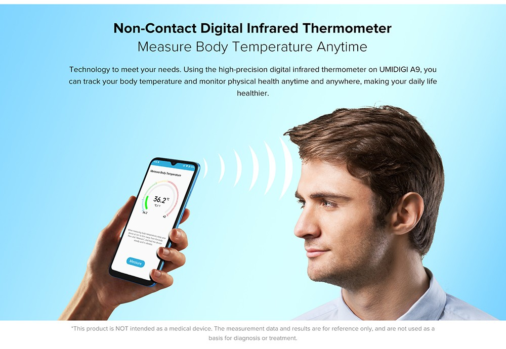 UMIDIGI A9 Smartphone Global Bands 6.53 Inch HD+ Infrared Thermometer Android 11 5150mAh 3GB 64GB Helio G25 13MP Triple Rear Camera Octa Core 4G Smartphone - Blue Non-Contact Digital Infrared Thermometer