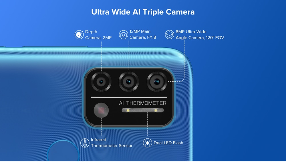 UMIDIGI A9 Smartphone Global Bands 6.53 Inch HD+ Infrared Thermometer Android 11 5150mAh 3GB 64GB Helio G25 13MP Triple Rear Camera Octa Core 4G Smartphone - Blue Ultra Wide AI Triple Camera