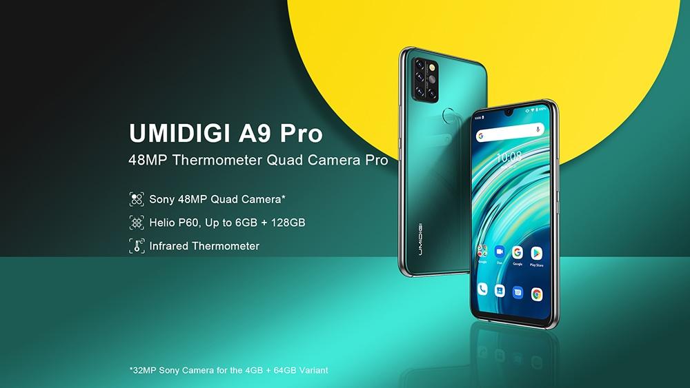 UMIDIGI A9 Pro Smartphone Global Bands 6.3 Inch FHD+ Infrared Thermometer Helio P60 Android 10 4150mAh 48MP AI Matrix Quad Camera 4G Smartphone - Black 6GB+128GB UMIDIGI A9 Pro