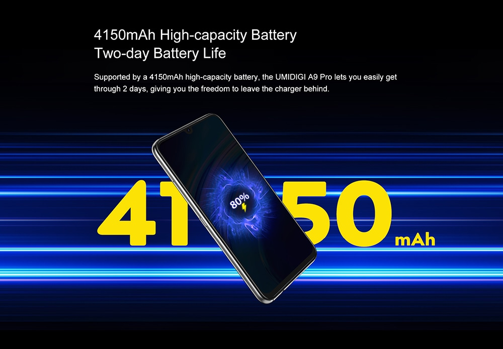 UMIDIGI A9 Pro Smartphone Global Bands 6.3 Inch FHD+ Infrared Thermometer Helio P60 Android 10 4150mAh 48MP AI Matrix Quad Camera 4G Smartphone - Black 6GB+128GB 4150mAh High-capacity Battery