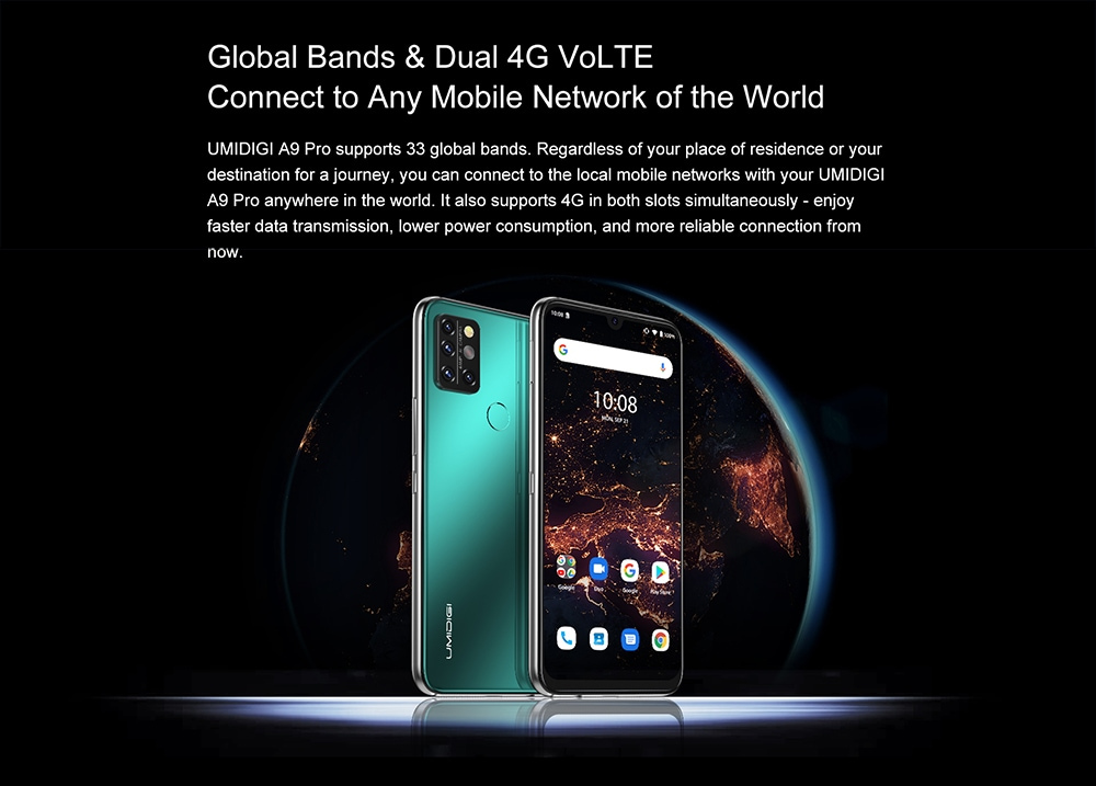 UMIDIGI A9 Pro Smartphone Global Bands 6.3 Inch FHD+ Infrared Thermometer Helio P60 Android 10 4150mAh 48MP AI Matrix Quad Camera 4G Smartphone - Black 6GB+128GB Global Bands & Dual 4G VoLTE
