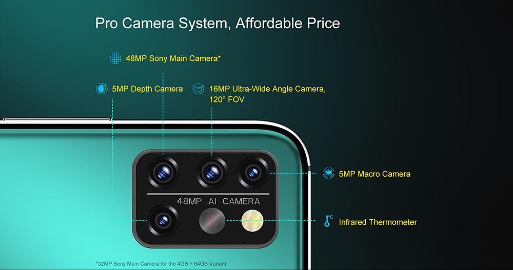 UMIDIGI A9 Pro Smartphone Global Bands 6.3 Inch FHD+ Infrared Thermometer Helio P60 Android 10 4150mAh 48MP AI Matrix Quad Camera 4G Smartphone - Black 6GB+128GB Pro Camera System, Afforable Price
