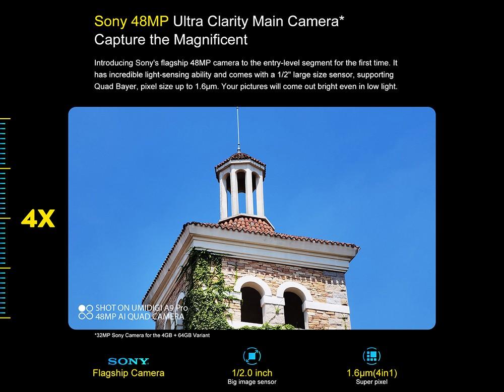 UMIDIGI A9 Pro Smartphone Global Bands 6.3 Inch FHD+ Infrared Thermometer Helio P60 Android 10 4150mAh 48MP AI Matrix Quad Camera 4G Smartphone - Black 6GB+128GB Sony 48MP Ultra Clarity Main Camera