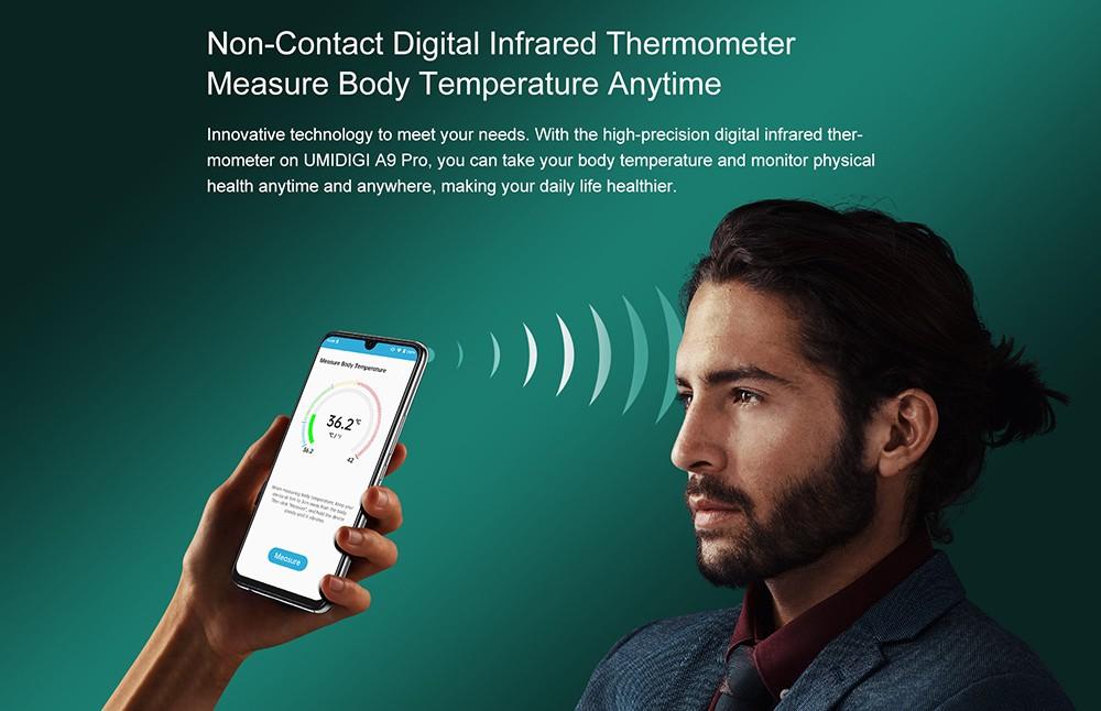 UMIDIGI A9 Pro Smartphone Global Bands 6.3 Inch FHD+ Infrared Thermometer Helio P60 Android 10 4150mAh 48MP AI Matrix Quad Camera 4G Smartphone - Black 6GB+128GB Non-contact Digital Infrared Thermometer