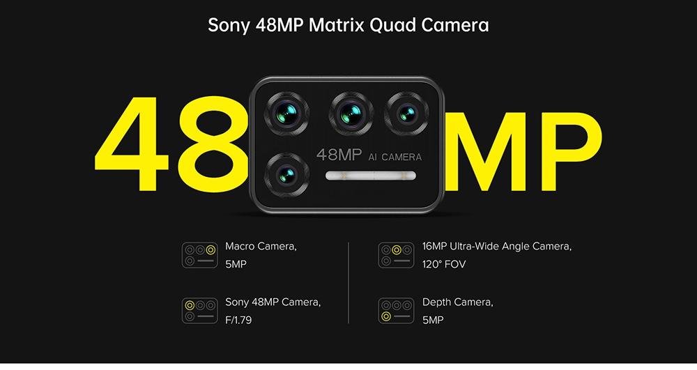 UMIDIGI BISON Smartphone Global Bands IP68 IP69K Waterproof NFC Android 10 5000mAh 6GB 128GB Helio P60 6.3 Inch FHD+ 48MP Quad Rear Camera 24MP Front Camera 4G Smartphone - Yellow Sony 48MP Matrix Quad Camera