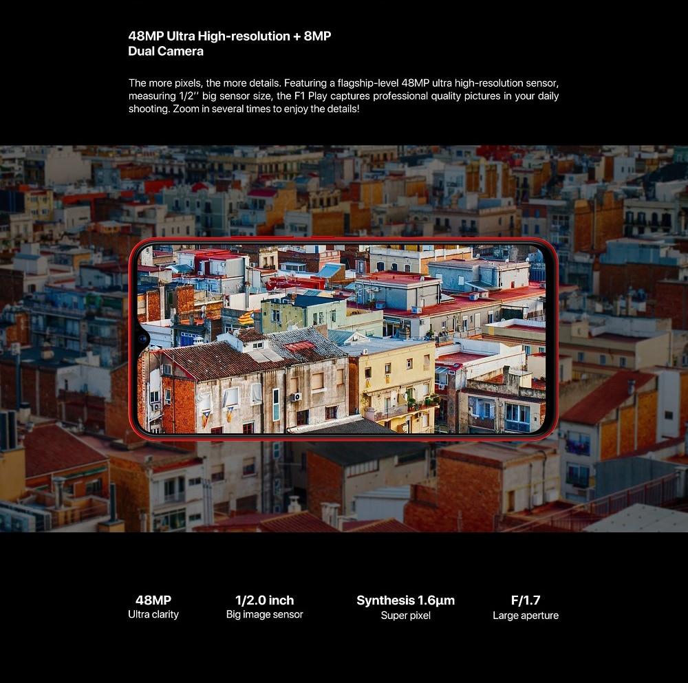 UMIDIGI F1 Play 6.3 inch Android 9.0 4G Phablet Helio P60 Octa Core 2.0GHz Mali G72 MP3 6GB RAM 64GB ROM 3 Camera Fingerprint Sensor 5150mAh Battery Built-in- Black EU Version