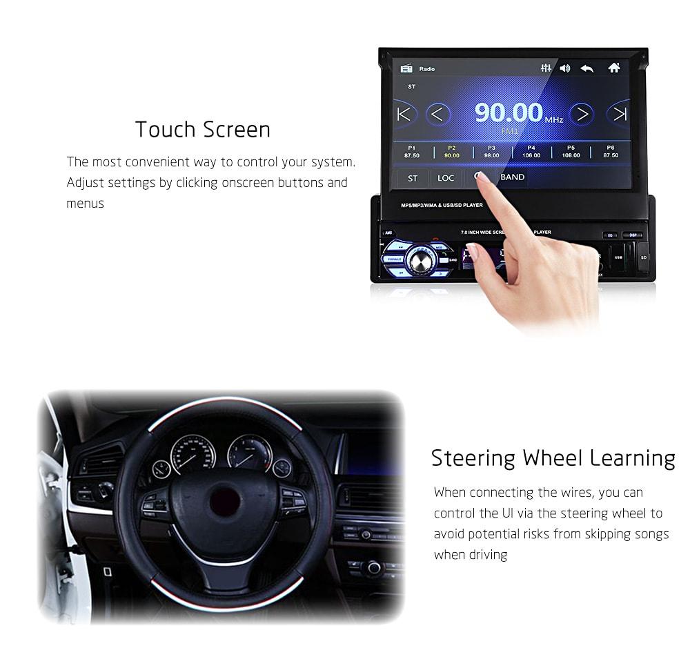 Univerzális 9601 7,0 hüvelykes TFT LCD képernyő MP5 autós multimédia lejátszó Bluetooth FM rádióval - fekete