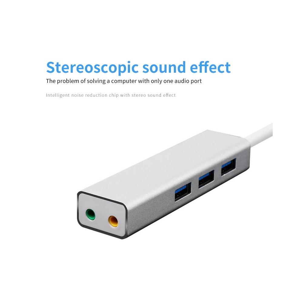 USB 3.0 Hub Plus 5.1 hangkártya többfunkciós - ezüst