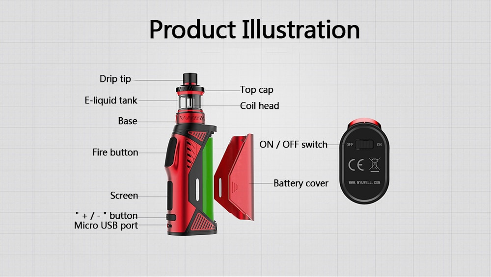 Uwell Hypercar 80W 3.5ml TC Kit with Whirl Atomizer - Ruby Red