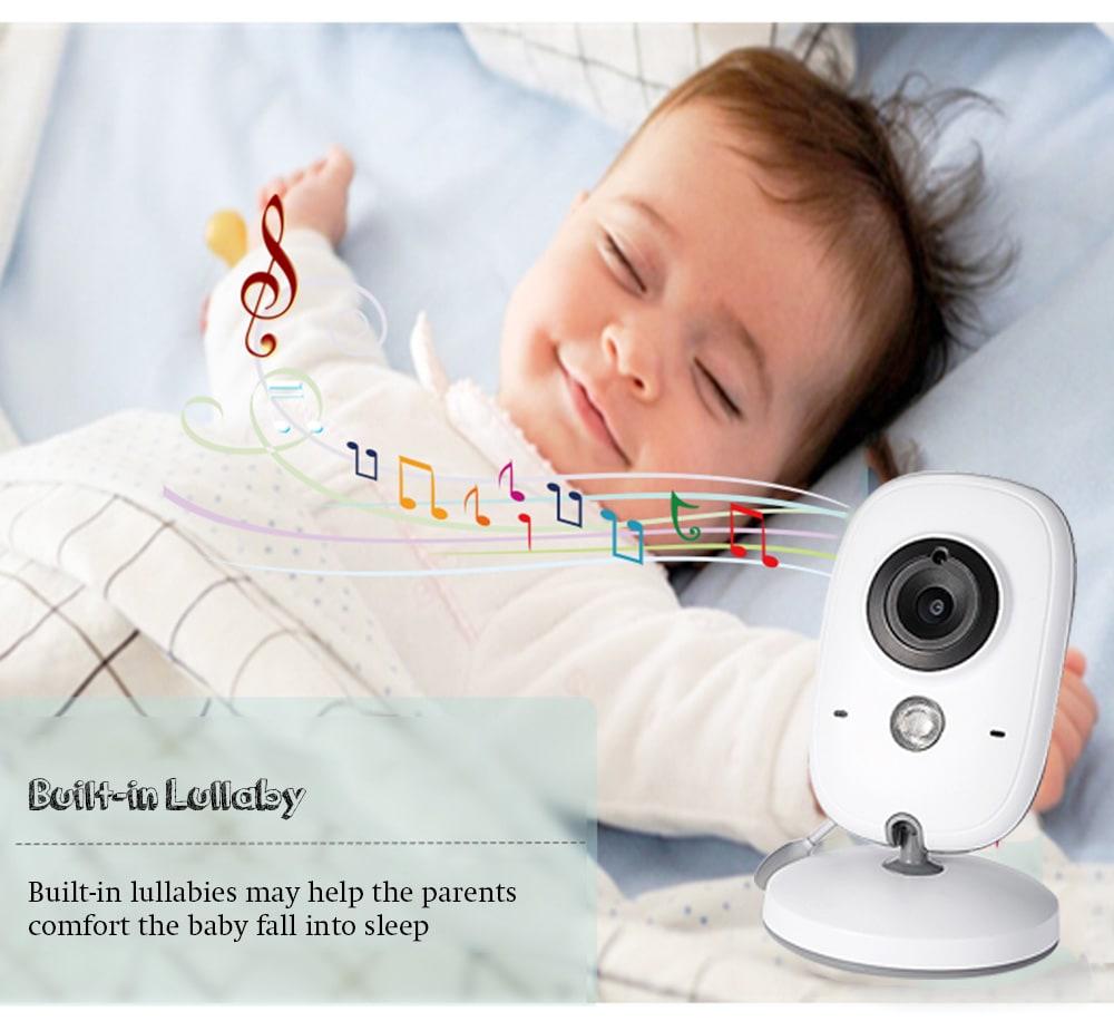 VB603 2.4G videó babafigyelő biztonsági mini fényképezőgép 3,2 hüvelykes képernyővel 2 módon: audiobeszélgetés és éjjellátó látvány - fehér EU-csatlakozó