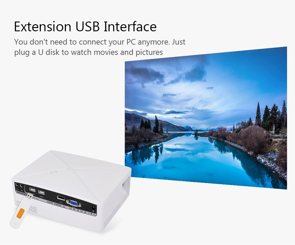 VIVIBRIGHT C80 LCD Home Theater Projector 1500 Lumens Support 1080P HDMI VGA USB for Laptop     - White Android Version EU Plug