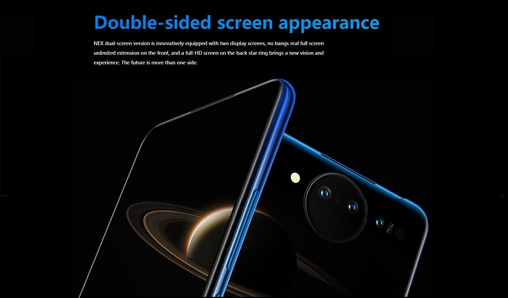 Vivo NEX Dual Screen 4G Phablet 6.39 inch Android 9.0 OS Snapdragon 845 Octa-core 2.7GHz 10GB RAM 128GB ROM Triple Camera Fingerprint Sensor 3500mAh Built-in- Blue