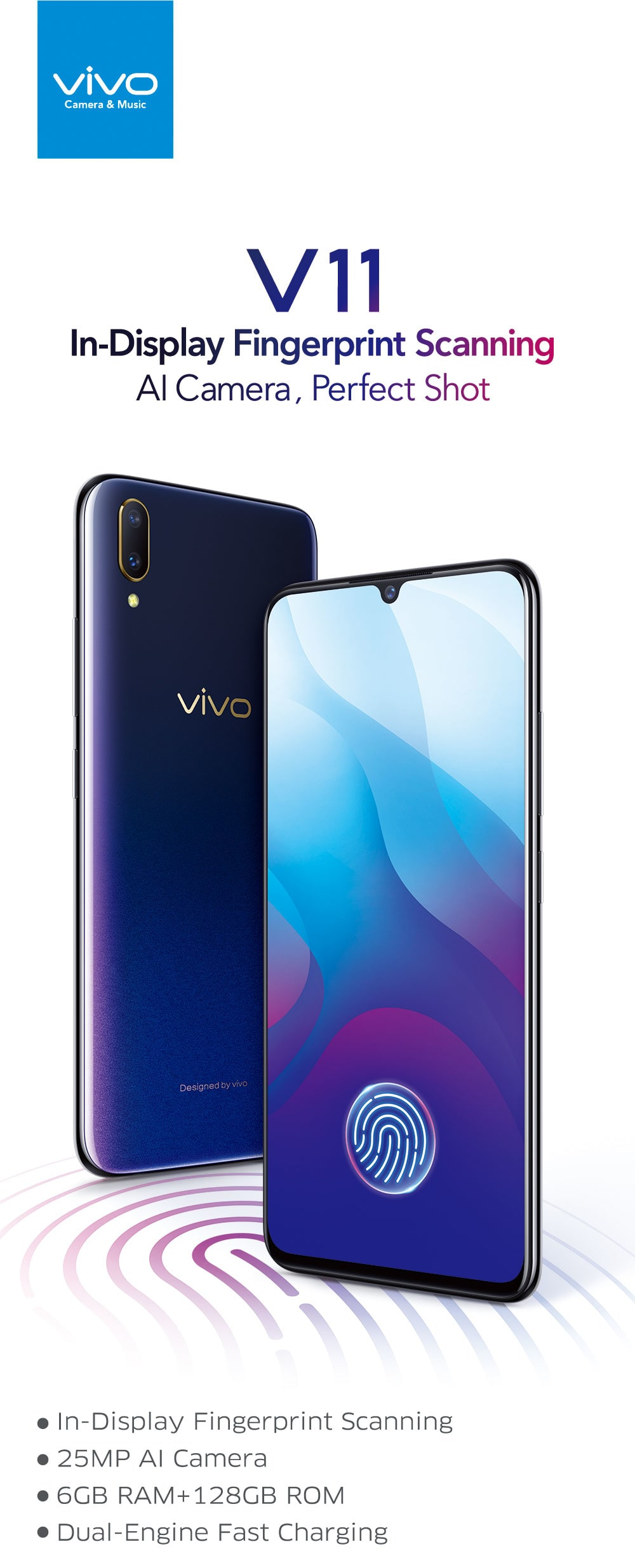 Vivo V11 4G Phablet 6.41 inch Android 8.1 Snapdragon 660 Octa Core 6GB RAM 128GB ROM 12.0MP + 5.0MP Rear Camera Fingerprint Sensor 3400mAh Built-in- Blueberry Blue