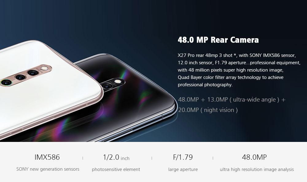 Vivo X27 Pro 4G Phablet 6.7 inch Funtouch OS 9 ( Android 9 ) Qualcomm Snapdragon 710 Octa Core 2.2GHz 8GB RAM 256GB ROM 32.0MP Front Camera Screen Fingerprint Sensor 4000mAh Built-in  - White