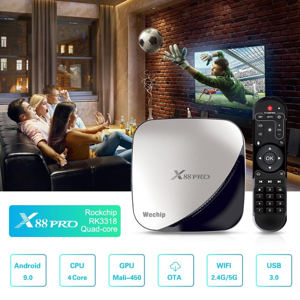 Wechip X88 Pro Android 9.0 TV Box Rockchip 3318 2.4G + 5G WiFi USB3.0 4K VP9- Ezüst 4 GB RAM + 32GB ROM EU Plug