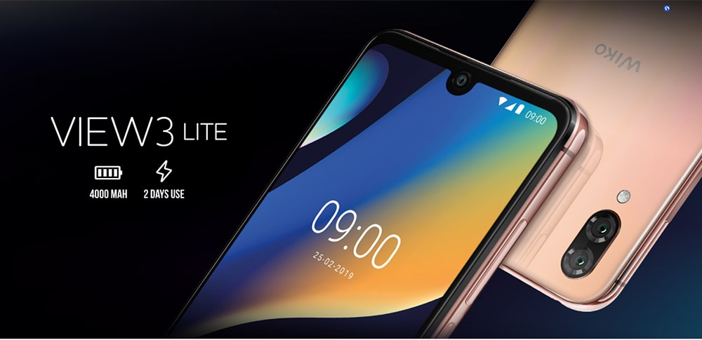 WIKO View 3 Lite 4G Phablet 6.09 inch Android 9.0 Unisoc SC9863A Octa Core 2GB RAM 32GB ROM 13.0MP + 2.0MP Rear Camera 4000mAh Battery- Rose Gold