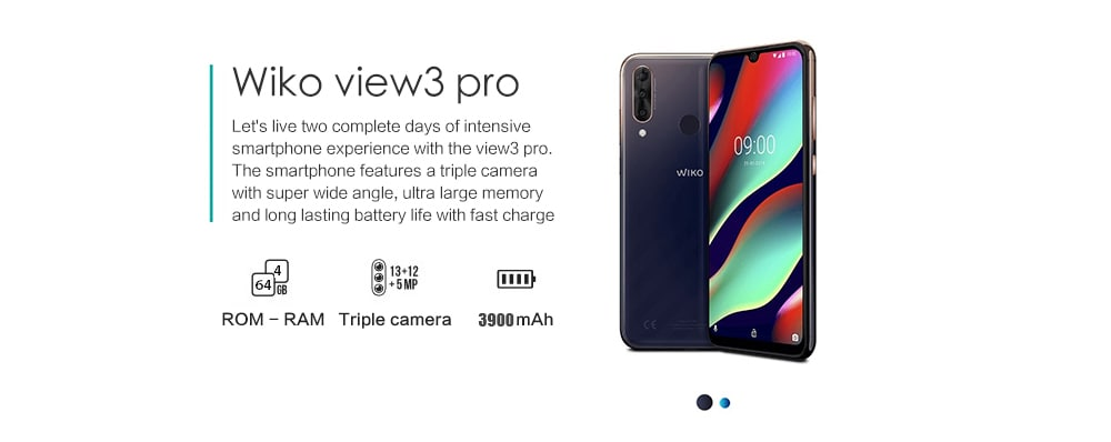 WIKO View3 Pro 4G Phablet 6.3 inch Android P Helio P60 Octa Core 2GHz 4GB RAM 64GB ROM 12.0MP + 13.0MP + 5.0MP Rear Camera 3900mAh Battery- Blue