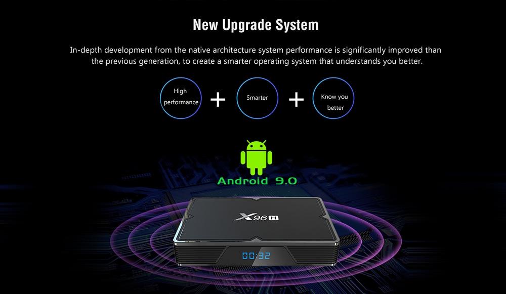 X96H Smart Android 9.0 TV Box Allwinner H603 / Mali T720 / Android 9.0 / 2.4GHz WiFi / 100Mbps / USB3.0 / VP6 / 8 / 9 / Support 6K- Black 4GB RAM + 32GB ROM EU Plug