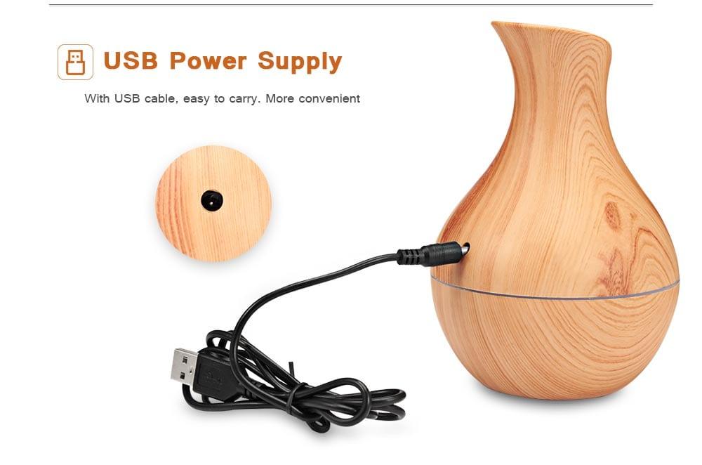 XBH - 038A USB légnedvesítő olajaroma váza alakú fadaraj mini ködkészítő - fa