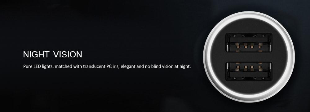 Xiaomi CC05ZM dupla USB port tervezésű autós töltő - platina