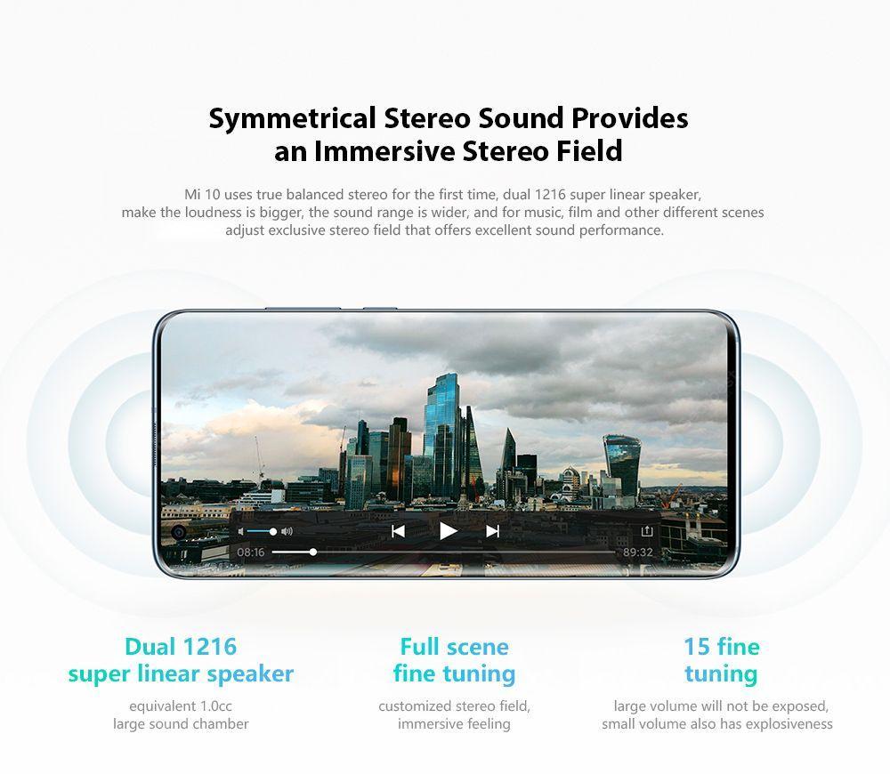 Xiaomi Mi 10 5G Smartphone 6.67 Inch Snapdragon 865 X55 Octa Core 108MP Penta Camera 4780mAh Battery Global Version- Medium Turquoise 8 + 128GB