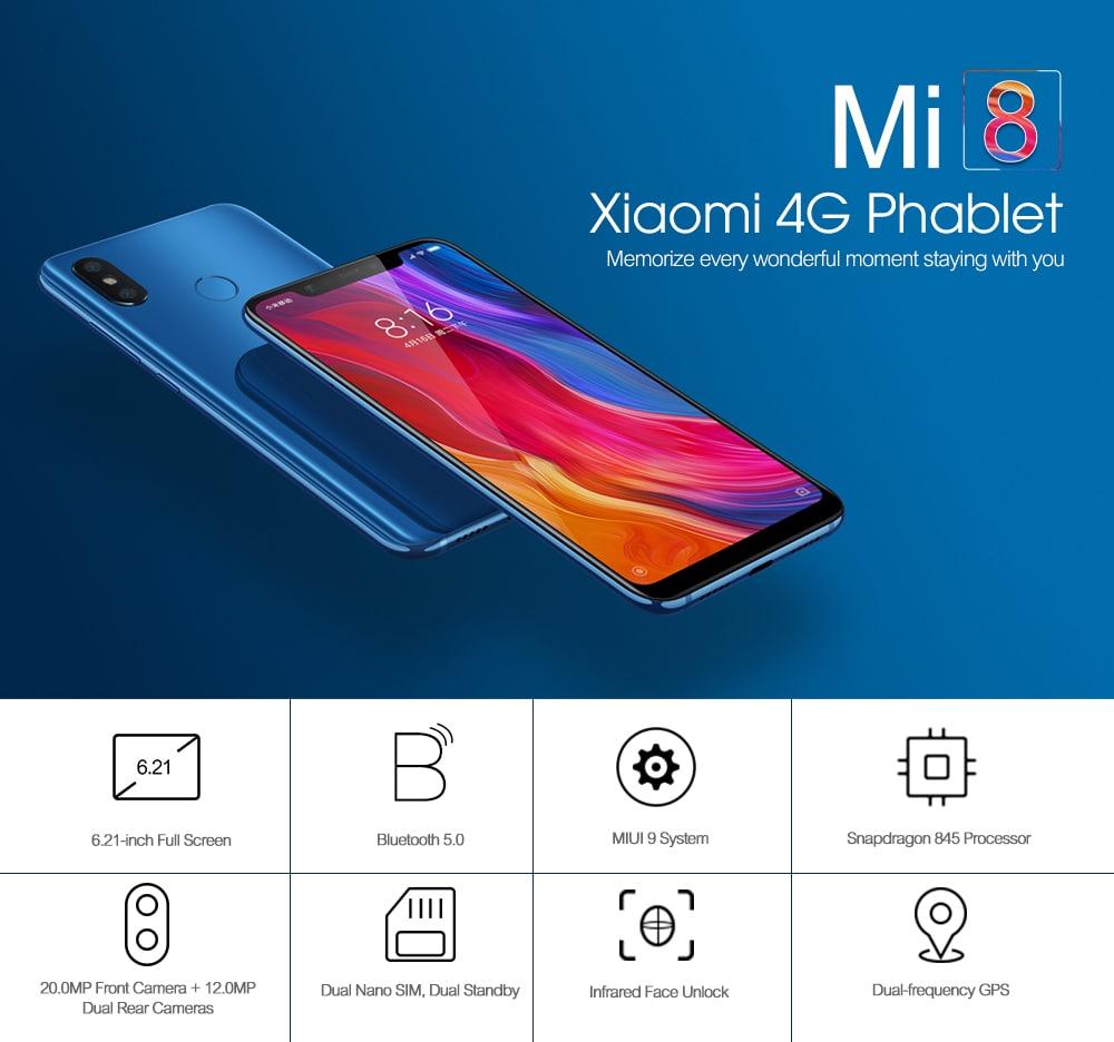 Xiaomi Mi 8 4G Phablet 6.21 inch MIUI 9 Snapdragon 845 Octa Core 2.8GHz 6GB RAM 128GB ROM 12.0MP Dual Rear Camera Fingerprint Sensor 3400mAh Built-in- White 6+128GB
