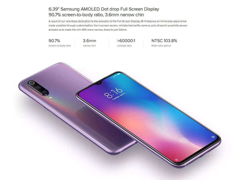 Xiaomi Mi 9 4G Phablet 6.39 inch MIUI 10 ( Android 9.0 ) Qualcomm Snapdragon 855 Octa Core 2.84GHz 6GB RAM 128GB ROM 16.0MP + 48.0MP + 12.0MP Rear Camera Fingerprint Sensor 3200mAh Built-in- Blue