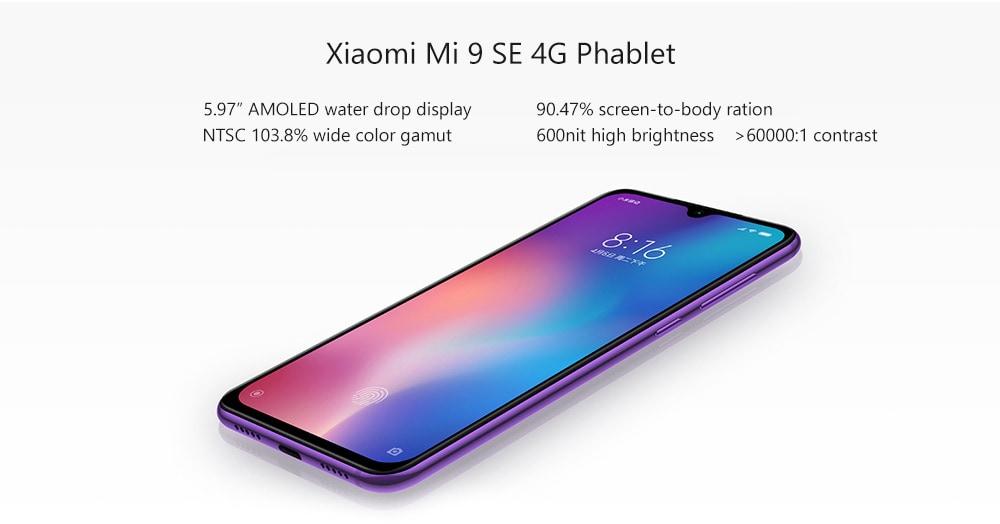 Xiaomi Mi 9 SE 4G Phablet 5.97 inch MIUI 10 Qualcomm Snapdragon 712 Octa Core 2.3GHz 6GB RAM 64GB ROM 20.0MP Front Camera Screen Fingerprint Sensor 3070mAh Built-in  - Blue