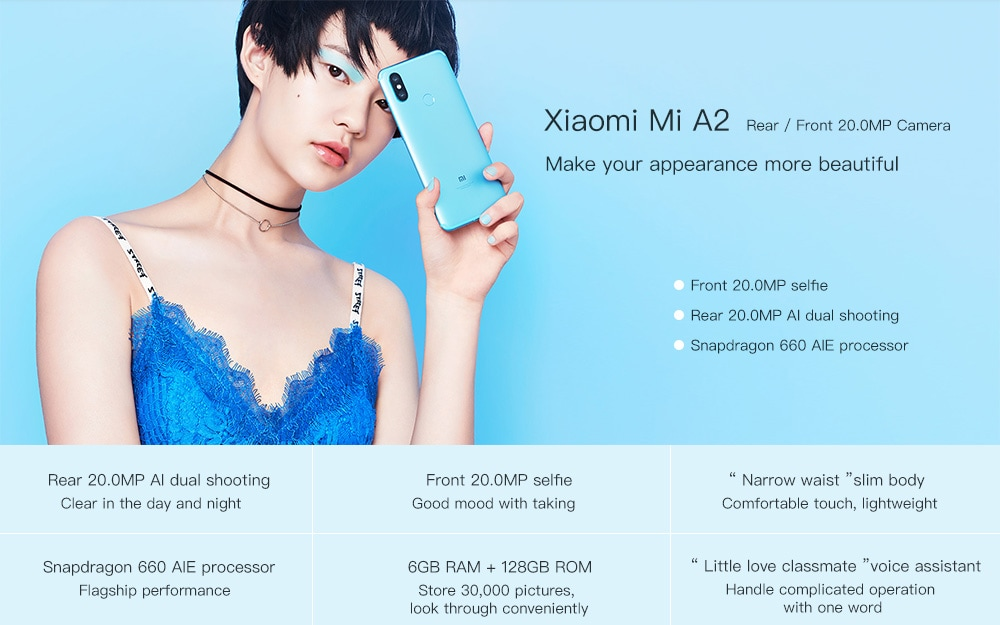 4GB RAM 32GB ROM 12.0MP + 20.0MP Rear Camera Fingerprint Sensor- Light Sky Blue