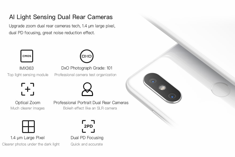 6GB RAM 64GB ROM Dual Rear Cameras Bluetooth 5.0 Fingerprint Recognition Wireless Charging- White 6+64GB