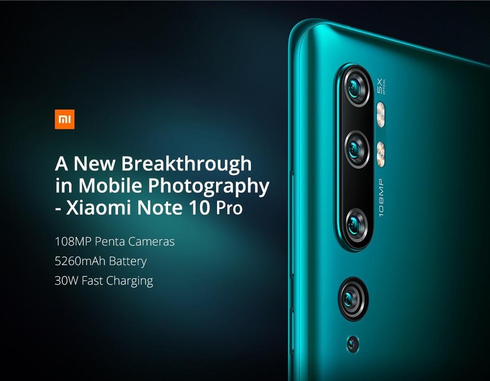 Xiaomi Mi Note 10 Pro 108MP Penta Camera Phone 6.47 inch 4G Smartphone Global Version With 8GB RAM 256GB ROM 5260mAh Battery Fast Charging- Black
