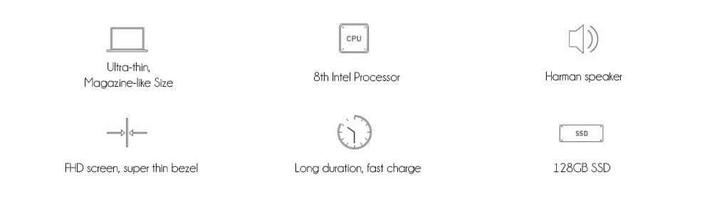 Xiaomi Mi Air Laptop 12.5 inch Windows 10 Home Intel Core m3 - 8100Y Dual Core 1.1GHz 4GB RAM 128GB SSD HDMI- Silver