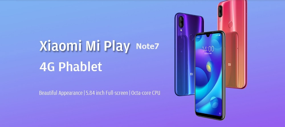 Xiaomi Mi Play 4G Phablet 5.84 inch Android 8.1 OS Helio P35 Octa-core 2.3GHz 4GB RAM 64GB ROM 12.0MP + 2.0MP Rear Camera Fingerprint Sensor Dual Band 3000mAh Built-in- Black