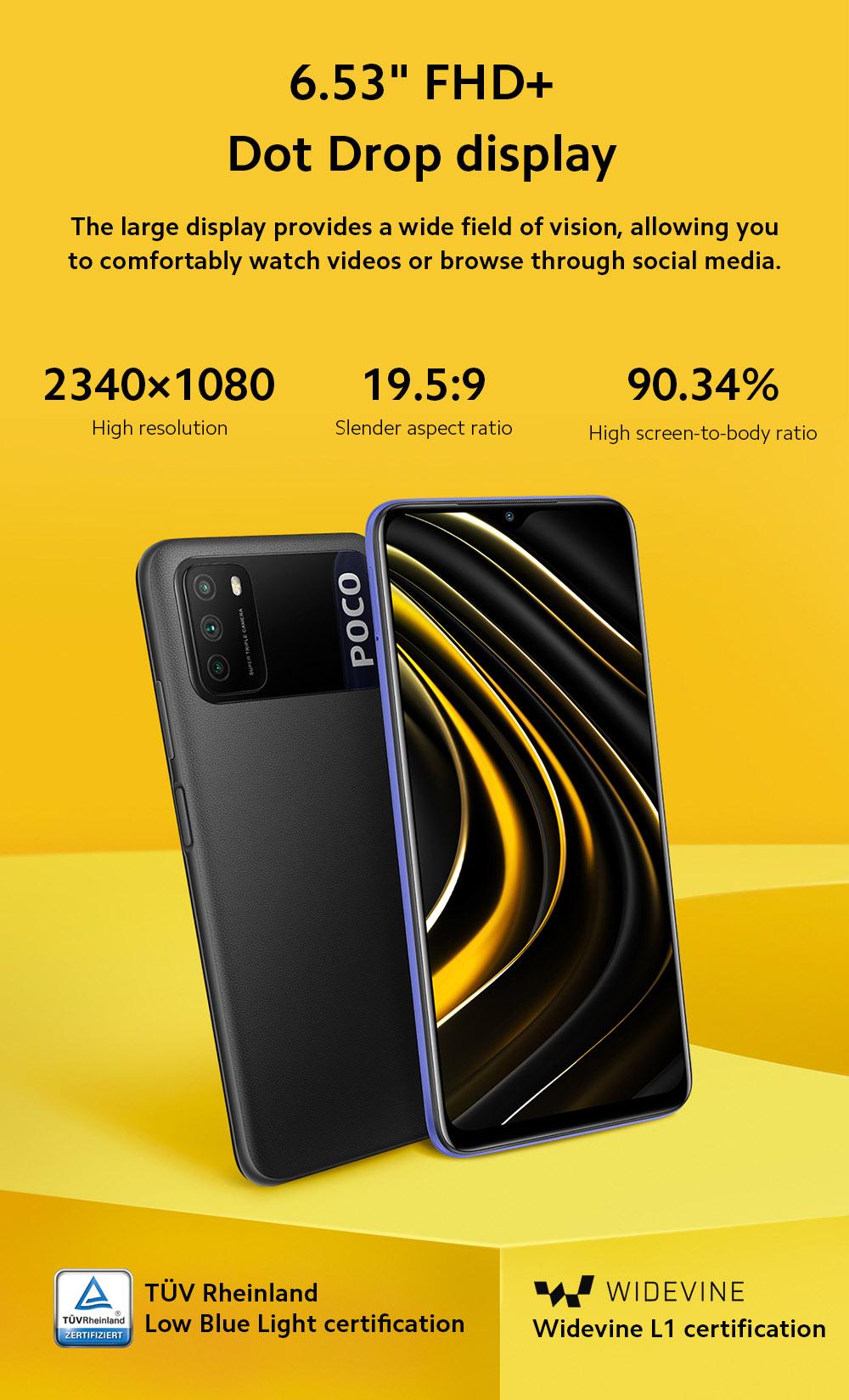 Xiaomi Poco M3 4G okos telefon 6,53 hüvelykes képernyő