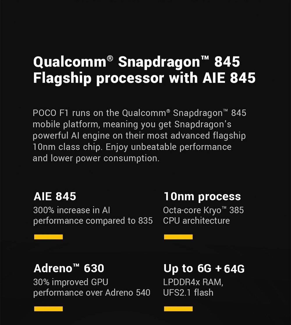 Xiaomi Pocophone F1 4G Phablet 6.18 inch Android 8.1 Snapdragon 845 Octa Core 2.8GHz 6GB RAM 64GB ROM 20.0MP Front Camera Fingerprint Sensor 4000mAh (typ ) / 3900mAh (min) Built-in- Graphite Black