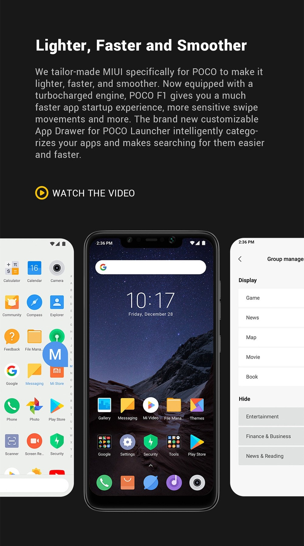 Xiaomi Pocophone F1 4G Phablet 6.18 inch Android 8.1 Snapdragon 845 Octa Core 2.8GHz 6GB RAM 64GB ROM 20.0MP Front Camera Fingerprint Sensor 4000mAh (typ ) / 3900mAh (min) Built-in- Graphite Black