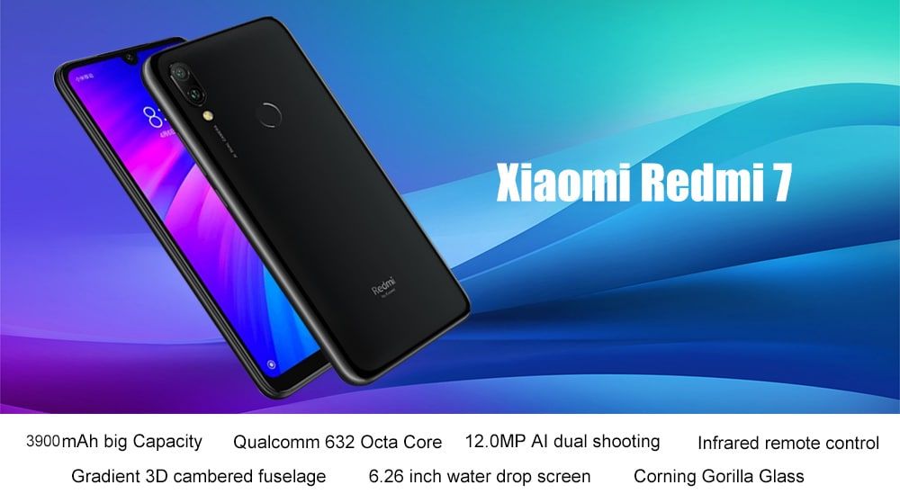 Xiaomi Redmi 7 4G Phablet 6.26 inch Android 9.0 Qualcomm Snapdragon 632 Octa Core 1.8GHz 4GB RAM 64GB ROM 8.0MP Front Camera Fingerprint Sensor 4000mAh ( typ ) / 3900mAh ( min ) Built-in- Blue