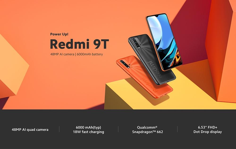 Xiaomi Redmi 9T 4G okostelefon Snapdragon 662 Octa-core 6.53 hüvelykes hátsó karámák 48MP + 8MP + 2MP + 2MP akkumulátor 6000mAh globális verzió - szürke 4 + 64GB Redmi 9T