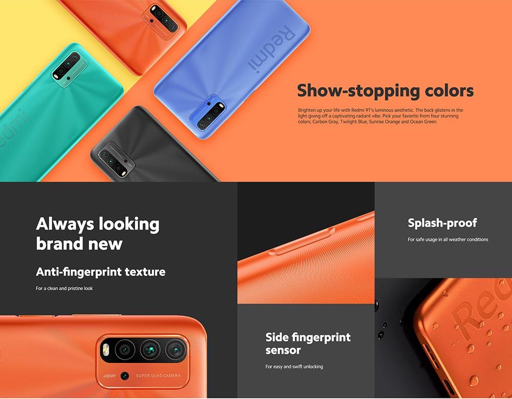 Xiaomi Redmi 9T 4G Smartphone Snapdragon 662 Octa-core 6.53 inch Rear Caremas 48MP + 8MP + 2MP + 2MP Battery 6000mAh Global Version - Gray 4+64GB Show-stopping colors