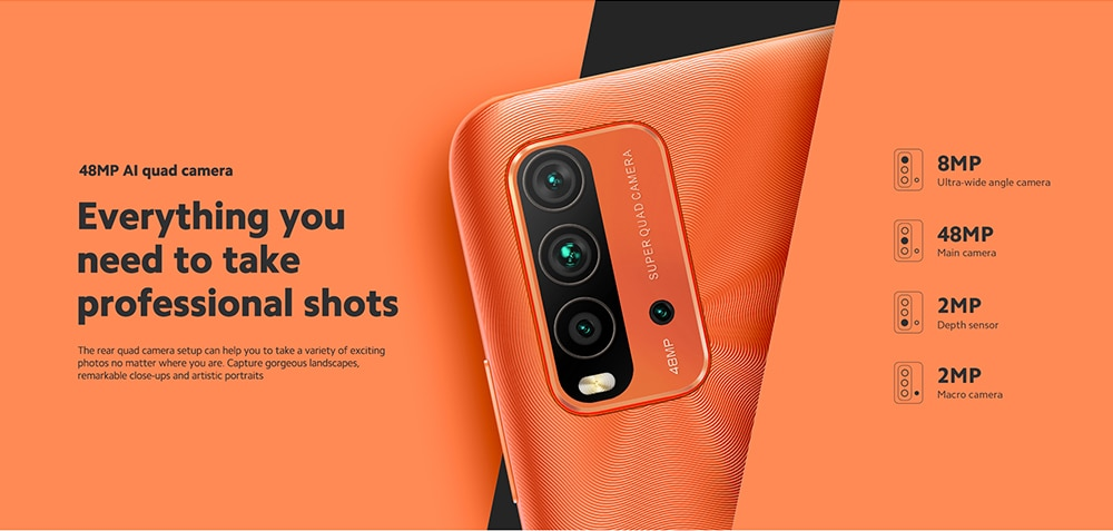 Xiaomi Redmi 9T 4G Smartphone Snapdragon 662 Octa-core 6.53 inch Rear Caremas 48MP + 8MP + 2MP + 2MP Battery 6000mAh Global Version - Gray 4+64GB 48MP AI quad camera