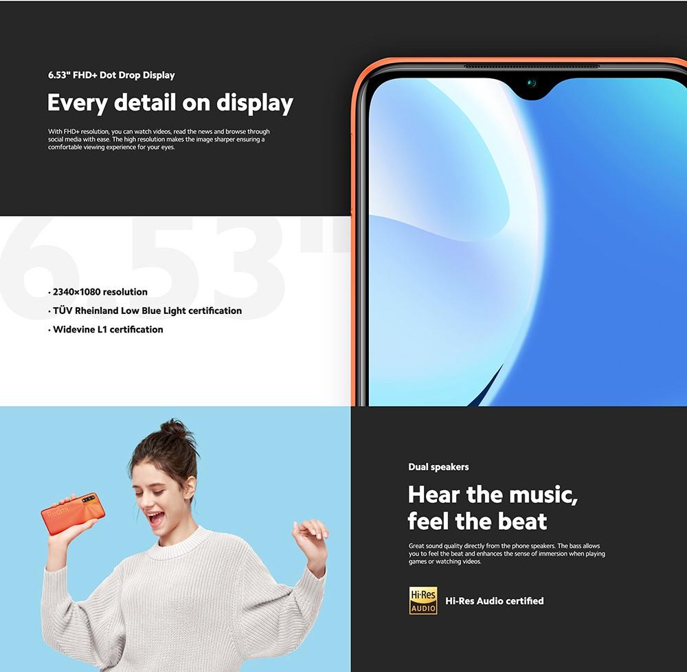 Xiaomi Redmi 9T 4G Smartphone Snapdragon 662 Octa-core 6.53 inch Rear Caremas 48MP + 8MP + 2MP + 2MP Battery 6000mAh Global Version - Gray 4+64GB 6.53